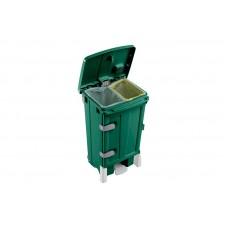 Žalias plastikinis konteineris POLARIS DELUX su durelėmis ir dviem talpom